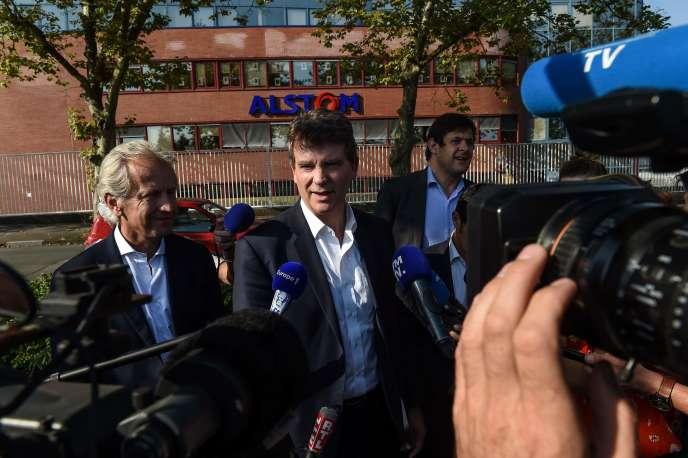 Arnaud Montebourg à l'usine Alstom de Belfort, le 14 septembre.