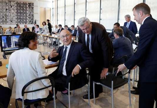 Myriam El Khomri, Michel Sapin et Christian Eckert, lors de la conférence de presse du 14 septembre sur la fraude fiscale, à Paris.