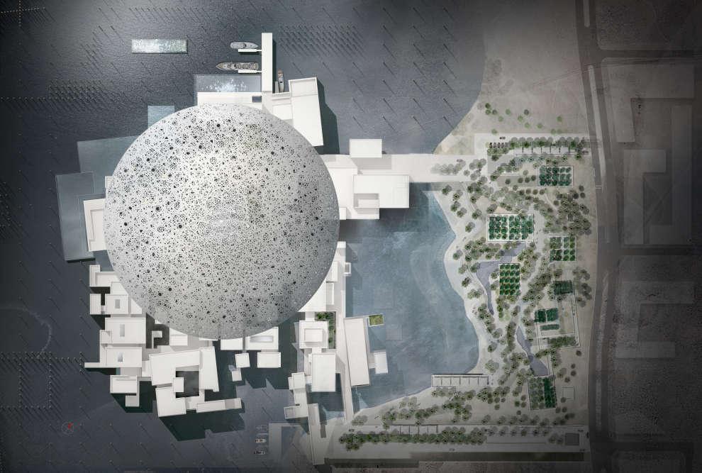 Plan toiture avec dôme ajouré de 180 mètres de diamètre (maquette).
