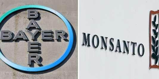 Le logo du géant pharmaceutique allemand Bayer et celui de Monsanto, racheté pour 66milliards de dollars.