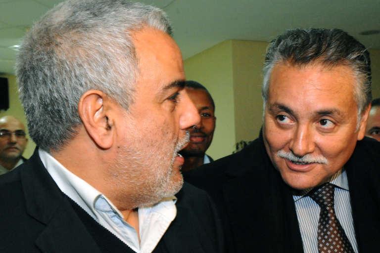 Le premier ministre islamiste Abdelillah Benkirane et l'actuel ministre de l'habitat NabilBenabdellah, qui préside le Parti du progrès et du socialisme (PPS, gauche) à Rabat en 2011.