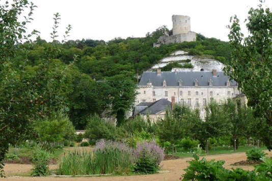 La tour datant du Moyen Age et le château du XVIIIe à ses pieds, à La Roche-Guyon.