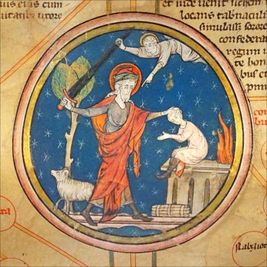 Enluminure représentant le sacrifice d'Isaac par Abraham (Ecole des Beaux-Arts, Paris).