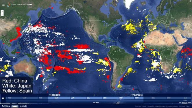 Carte issue du site internet Global Fishing Watch.