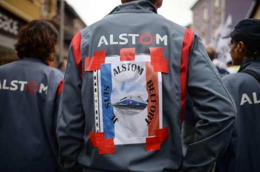 Pendant la manifestion de soutien aux salariés d'Alstom, à Belfort, le 15 septembre.