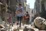 Après un bombardement dasn le quartier de Salihin au nord d'Alep le 11 septembre 2016.