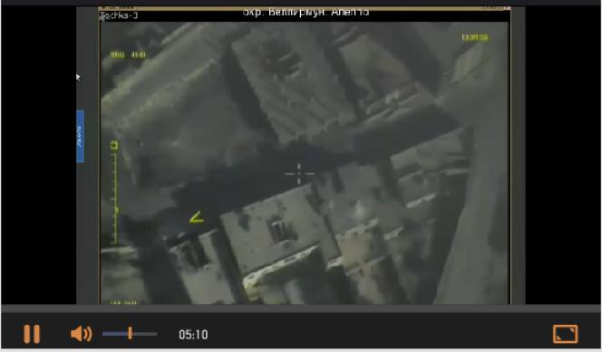 Capture d'écran de la vidéo mise en ligne sur le site du ministère de la défense russe et montrant en direct les quartiers est d'Alep, jeudi 15 septembre 2016.
