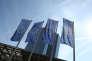 Drapeaux européens, devant la Banque centrale européenne à Francfort (Allemagne), le 8 septembre 2016.