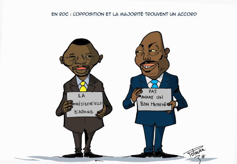 La crise électorale en RDC vue par notre dessinateur Roland Polman.