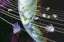 Débris spatiaux en orbite autour de la Terre.