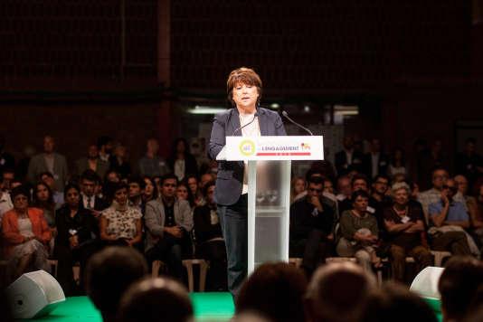 L'ancienne première secrétaire du PS a fustigé les outrances sécuritaires du candidat Sarkozy et a rappelé son bilan en matière de dette publique.
