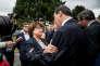 Martine Aubry salue Jean-Christophe Cambadélis, à son arrivée à Lomme, le 17septembre.