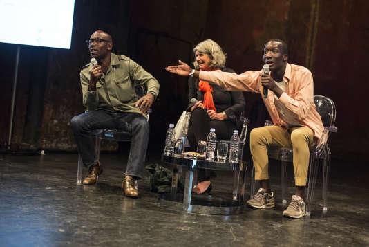 Lucien Jean-Baptiste, Karine Gloanec-Maurin et Souleymane Sylla lors du débat du Monde Festival aux Bouffes du Nord, le 17 septembre.