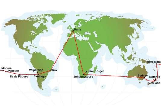 26 jours dans l'hémisphère austral, de Rio à Auckland.