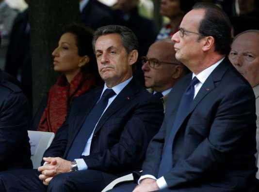 Nicolas Sarkozy et François Hollande lors de la cérémonie aux Invalides, le 19 septembre.