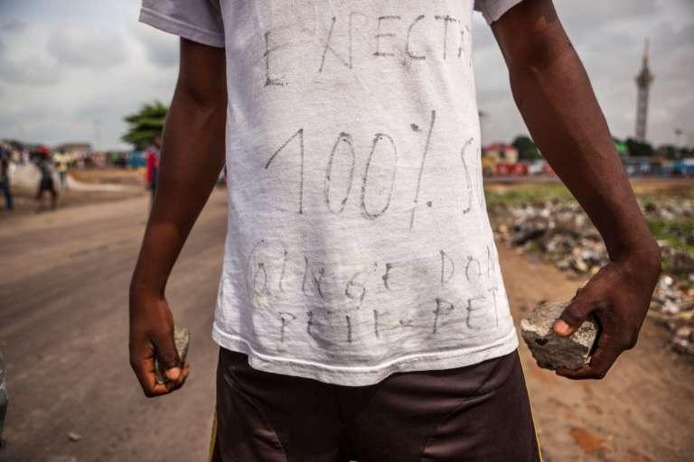 Un manifestant, le 19 septembre 2016, à Kinshasa.