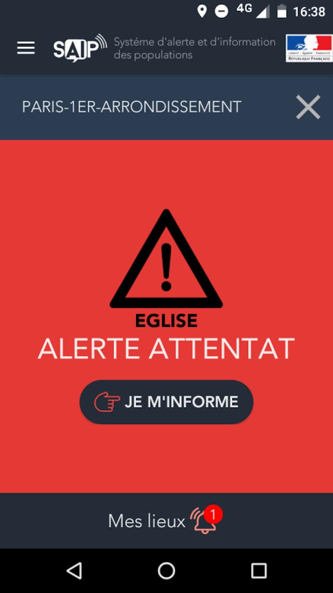 Pendant trente-quatre minutes, l'application SAIP a signalé un attentat samedi17septembre.