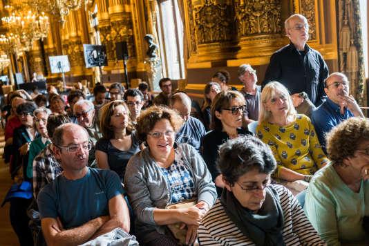 Le public est prêt pour la 2e conférence de la journée, lors du Monde Festival à l'Opéra Garnier, àParis, le 18 septembre.