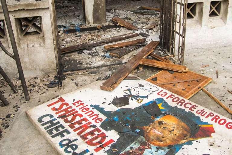 Le siège de l'Union pour la démocratie et le progrès social (UDPS), premierparti d'opposition fondé par Etienne Tshisekedi, à Kinshasa, le 20 septembre 2016.