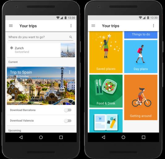 L'interface de Google Trips est simple.