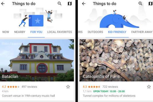 Les suggestions de Google Trips ne sont pas toujours les plus pertinentes.