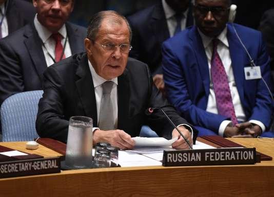 Sergey Lavrov, le ministre russe des affaires étrangères, lors du Conseil de sécurité de l'ONU du 21 septembre portant sur la situation en Syrie.