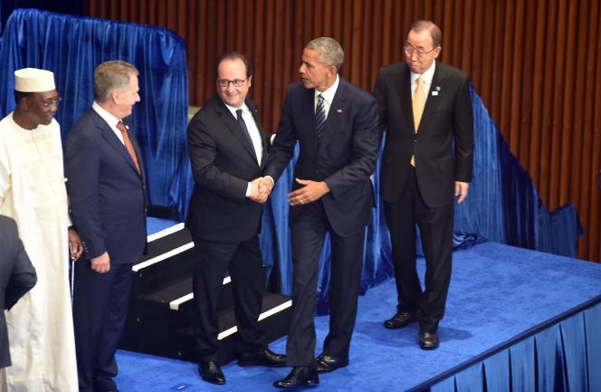François Hollande, Barack Obama à l'Assemblée générale des Nations unies.