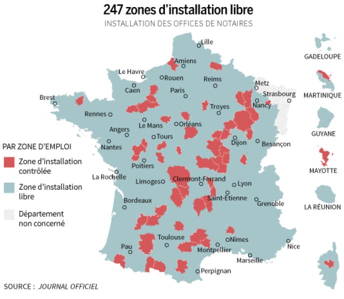 carte libre installation notaire Notaires : le gouvernement fixe 247 zones d'« installation libre »