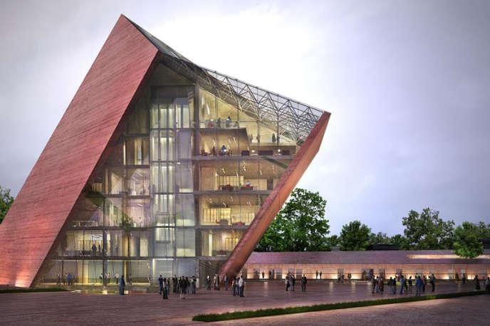 La maquette en image de synthèse du futur Musée de la seconde guerre mondiale à Gdansk en Pologne.