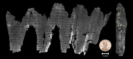 Un des parchemins d'Ein-Gedi virtuellement déroulé.