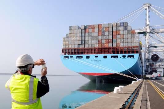 Porte-conteneurs du groupe danois Maersk dans le port du Havre.