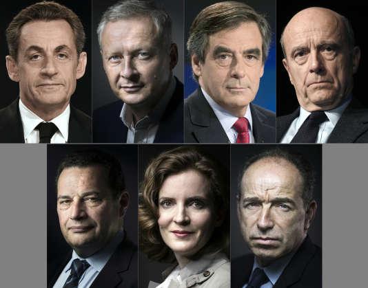 Les candidats à la primaire de la droite (de haut en bas et de gauche à droite) : Nicolas Sarkozy, Bruno Le Maire, François Fillon, Alain Juppé, Jean-Frédéric Poisson, Nathalie Kosciusko-Morizet et Jean-François Copé.