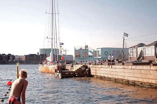 Dans le port de Copenhague, les constructions côtoient les usagers habituels.