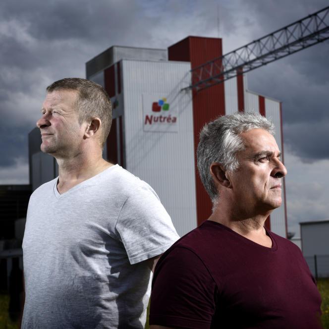 Laurent Guillou et Stéphane Rouxel, salariés de Triskalia et Nutréa, victimes de cancer dû à l'exposition aux pesticides, àPlouisy.