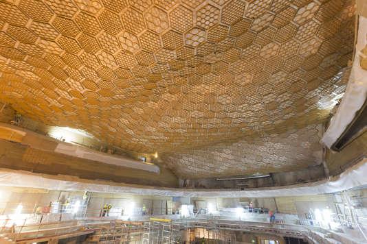 Le chantier de« La Seine musicale» à Boulogne-Billancourt (Hauts-de-Seine).