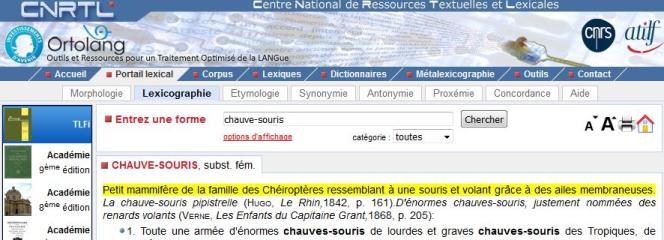 Le site du CNRTL, qui héberge le Trésor de la langue française informatisé