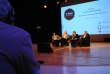 Evguenia Albats, Omar Belhouchet, Jaroslaw Kurski et Sylvie Kauffmann modératrice, lors de la conférence «Informer dans un environnement hostile»du «Monde Festival» à l'Opéra Bastille Paris France le 18 septembre 2016.