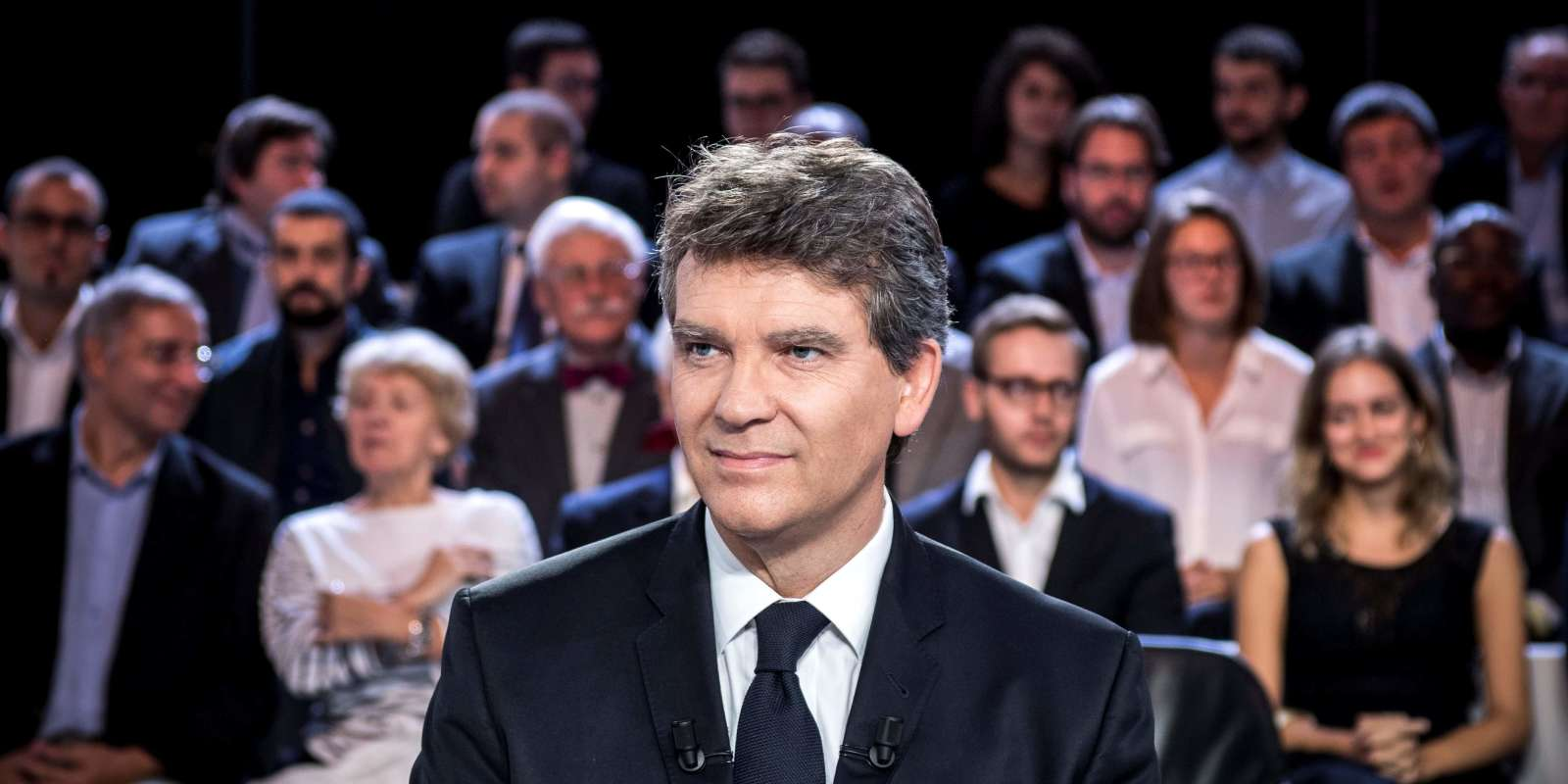 Former French Economy Minister and candidate for the left-wing primaries ahead of the 2017 presidential election Arnaud Montebourg is seen on a TV set before taking part in the show