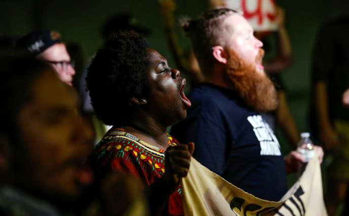 Lors d'une manifestation contrela police,à Charlotte (Caroline du Nord), jeudi22 septembre.