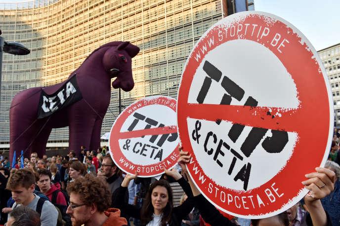 Manifestation contre le TTIP et le CETA,le 20 septembre à Bruxelles.