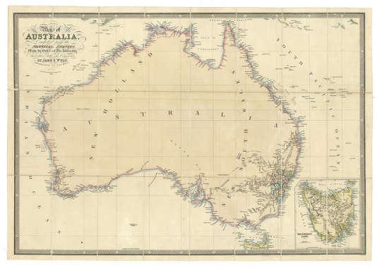 L'Australie en 1836. Depuis, la tectonique des plaques a fait son chemin.