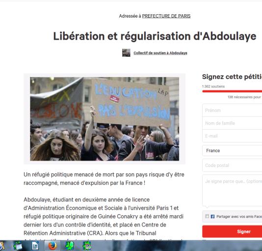 Capture d'écran de la pétition lancée en faveur d'Abdoulaye, 25 ans, étudiant à l'université Paris 1 menacé d'expulsion.
