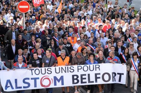 Manifestation à Belfort contre la fermeture de l'usine Alstom, le 24 septembre.