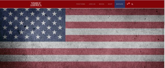Ecran d'accueil de Nimble America, le mouvement de soutien nationaliste et provocateur à Donald Trump.