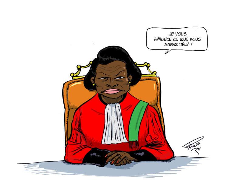 La présidente de la Cour constitutionnelle gabonaise,Marie-Madeleine Mborantsuo, confirme la réélection d'Ali Bongo Ondimba, vendredi 23 septembre.