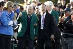 Honorary starter Arnold Palmer is introduced on the 1st tee during the first round of the 2016 The Masters golf tournament at Augusta National Golf Club in Augusta, Georgia, U.S. on April 7, 2016. Mandatory Credit: Rob Schumacher-USA TODAY Sports/File Photo