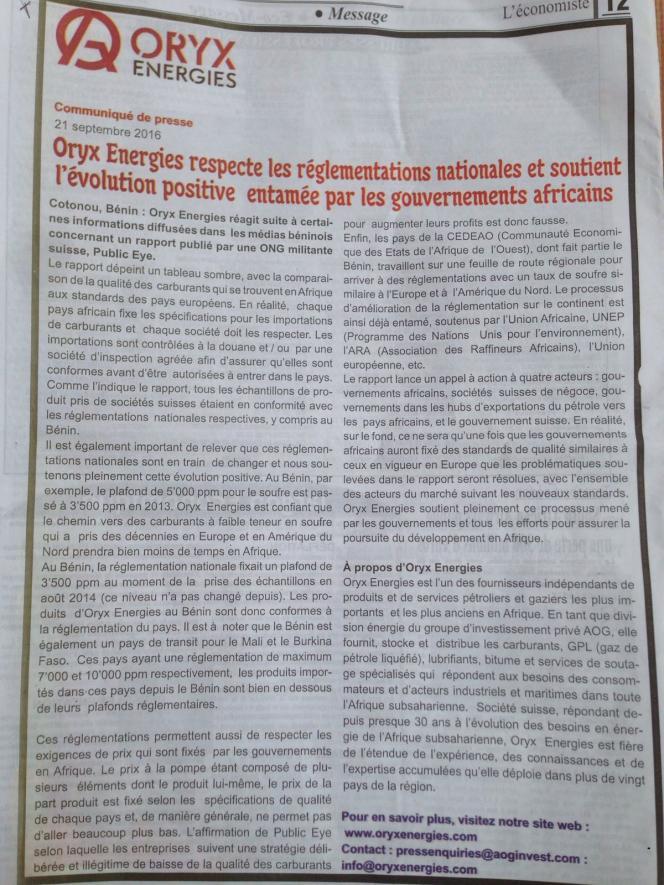 Communiqué de presse d'Oryx Energies, dans le quotidien béninois Fraternité, publié le 21 septembre 2016 en réponse au rapport