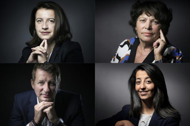 Les candidats à la primaire écologiste, Cécile Duflot, Karima Delli, Michèle Rivasi et Yannick Jadot.