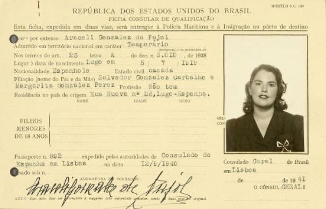 Carte d'identité brésilienne d'Araceli Gonzalez datant de 1941.