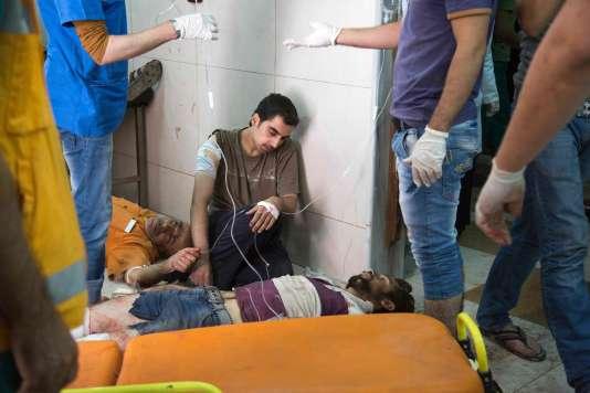 Dans un hôpital après les bombardements aérienssur les quartiers est d'Alep, le 24 septembre.